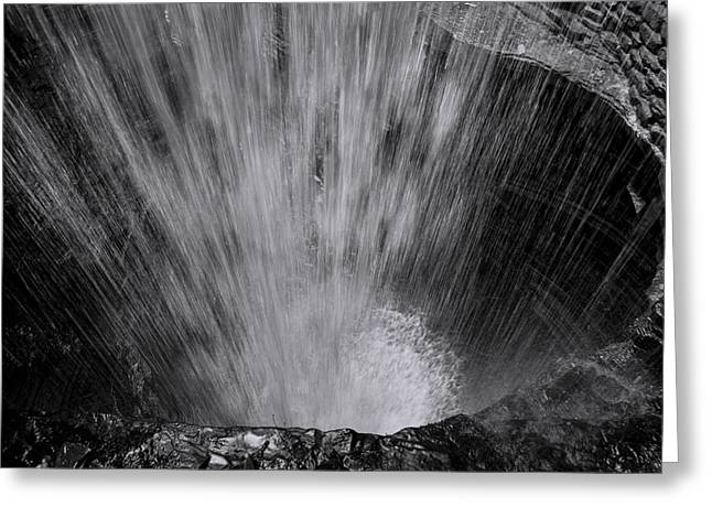 Cavern Cascade - Black And White Greeting Card