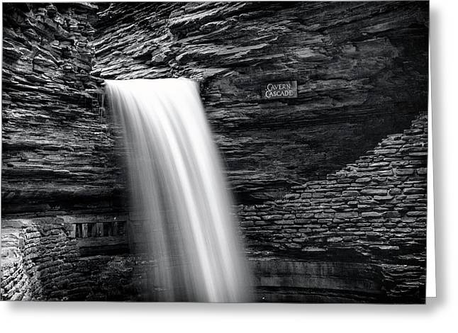 Cavern Cascade Bw - Watkins Glen Greeting Card by Stephen Stookey