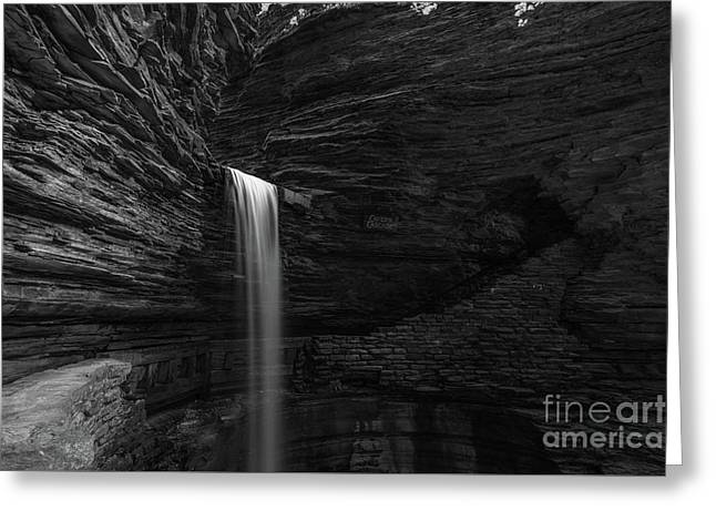 Cavern Cascade Waterfall Bw  Greeting Card by Michael Ver Sprill