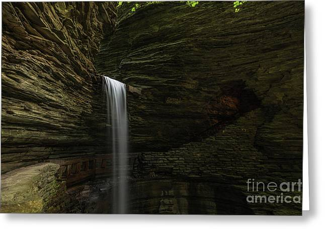 Cavern Cascade Waterfall  Greeting Card by Michael Ver Sprill