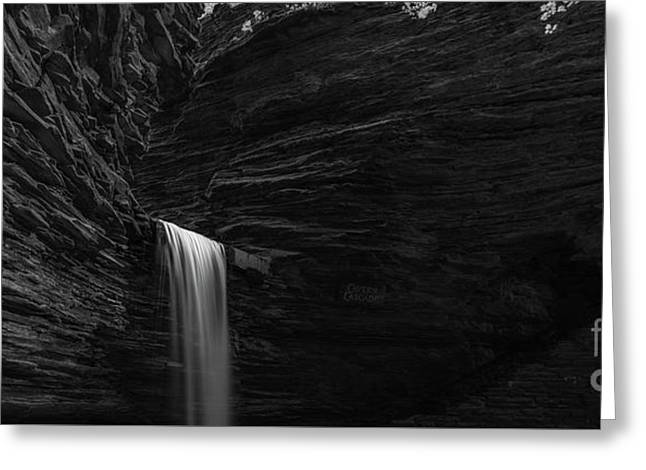 Cavern Cascade Waterfall Panorama Bw Greeting Card by Michael Ver Sprill