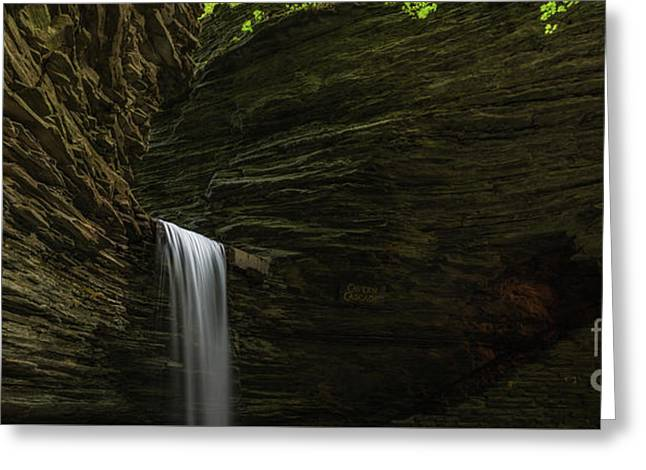 Cavern Cascade Waterfall Panorama Greeting Card by Michael Ver Sprill