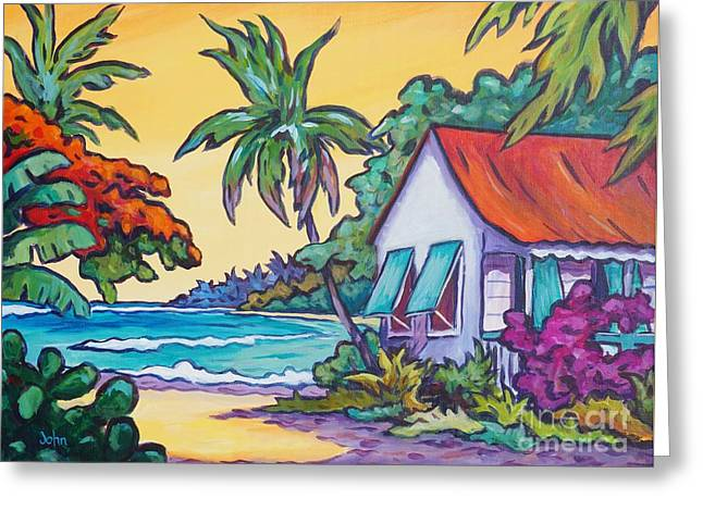Cayman Cottage On The Bay Greeting Card by John Clark