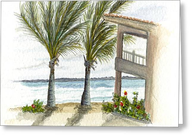 Greeting Card featuring the digital art Cayman Hotel by Darren Cannell