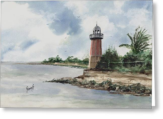 Greeting Card featuring the painting Cayman Lighthouse by Sam Sidders