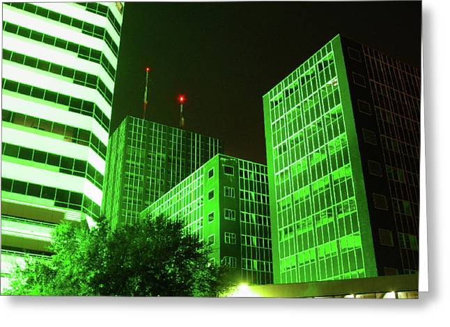 Cc27 Frost Bank At Night Greeting Card by James D Waller