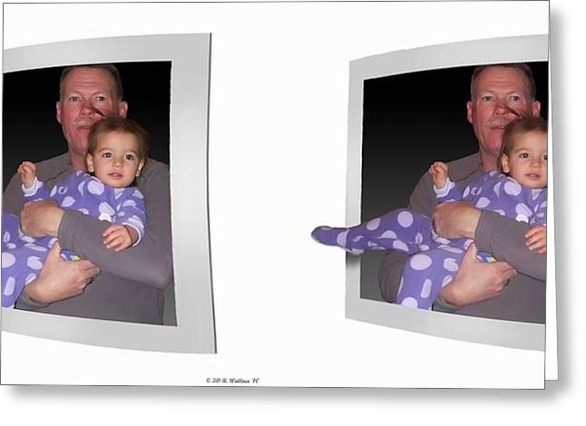 Pajamas Greeting Cards - Cece - Gently cross your eyes and focus on the middle image Greeting Card by Brian Wallace
