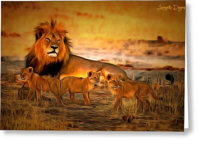 Cecil And Babies - Da Greeting Card