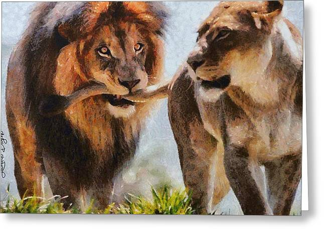 Cecil The Lion And Wife Greeting Card by Leonardo Digenio
