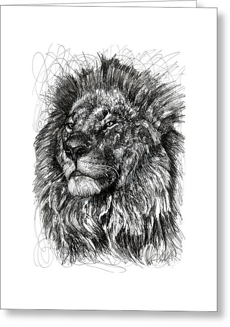 Cecil The Lion Greeting Card by Michael Volpicelli