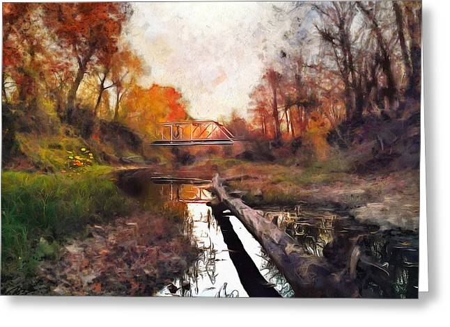 Cedar Creek Bridge Greeting Card by Ryan Burton