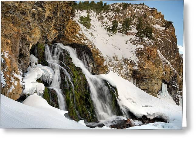 Cedar Creek Falls Winter Greeting Card by Leland D Howard