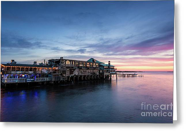 Cedar Key Waterfront At Sunrise, Cedar Key, Florida Greeting Card