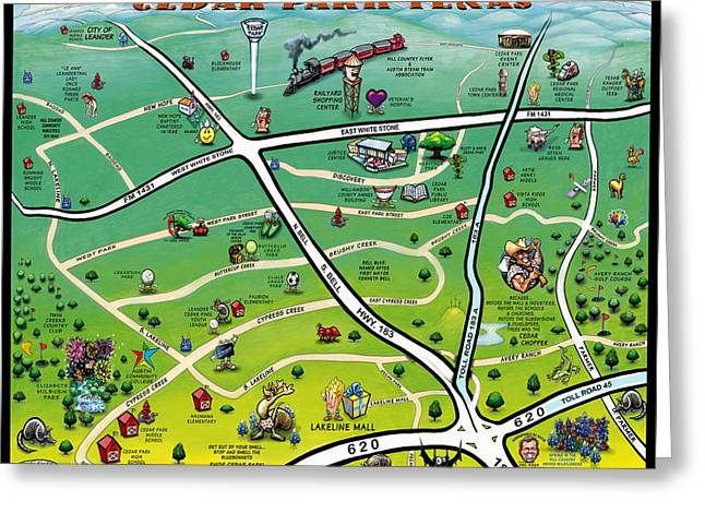 Cedar Park Texas Cartoon Map Greeting Card by Kevin Middleton
