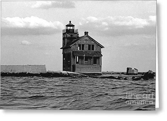Cedar Point Light Chesapeake Bay Maryland Vintage 1960 Greeting Card by Wayne Higgs