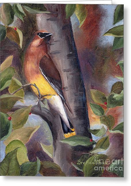 Greeting Card featuring the painting Cedar Waxwing by Brenda Thour