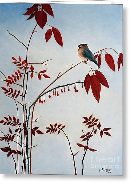 Cedar Waxwing Greeting Card by Laura Tasheiko