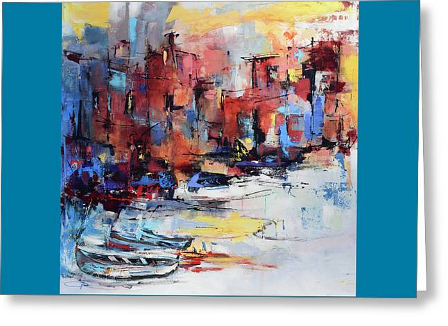 Greeting Card featuring the painting Cefalu Seaside by Elise Palmigiani
