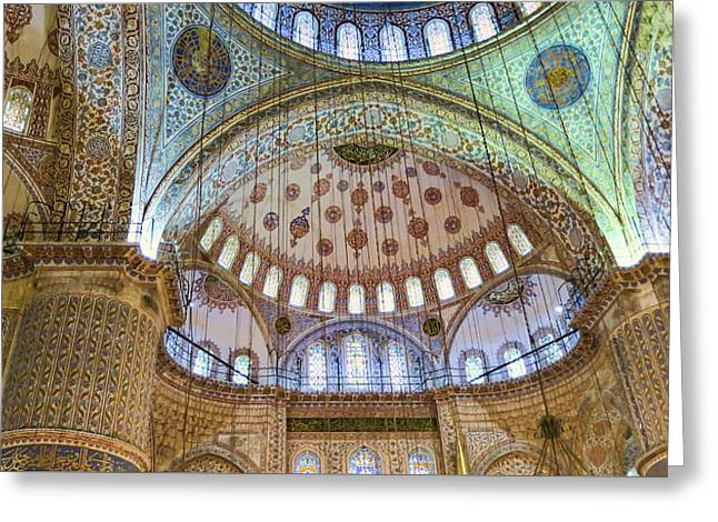 Ceiling Of Blue Mosque Greeting Card by Phyllis Taylor