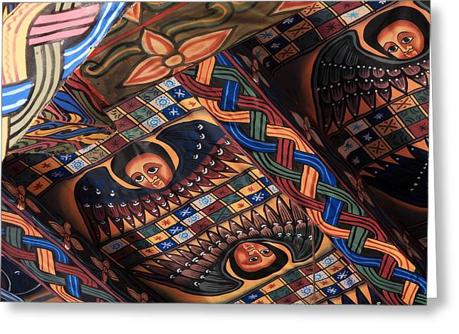 Ceiling Paintings In Abba Pantaleon  Greeting Card by Aidan Moran