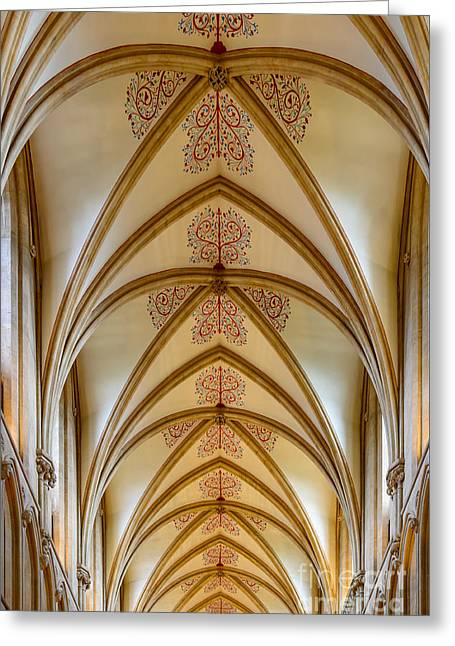 Ceiling, Wells Cathedral. Greeting Card by Colin Rayner