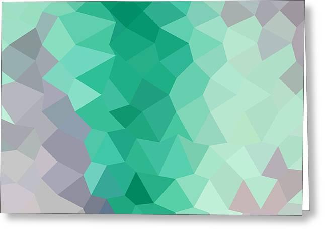 Celadon Green Abstract Low Polygon Background Greeting Card by Aloysius Patrimonio