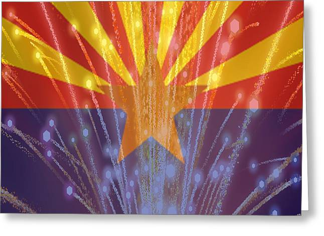 Celebrating Freedom In Arizona Greeting Card by Beverly Guilliams