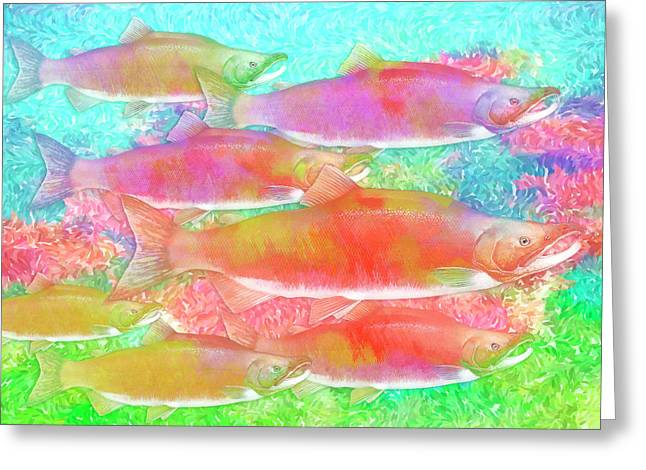 Celebrating Salmon Greeting Card by Darryl Luscombe