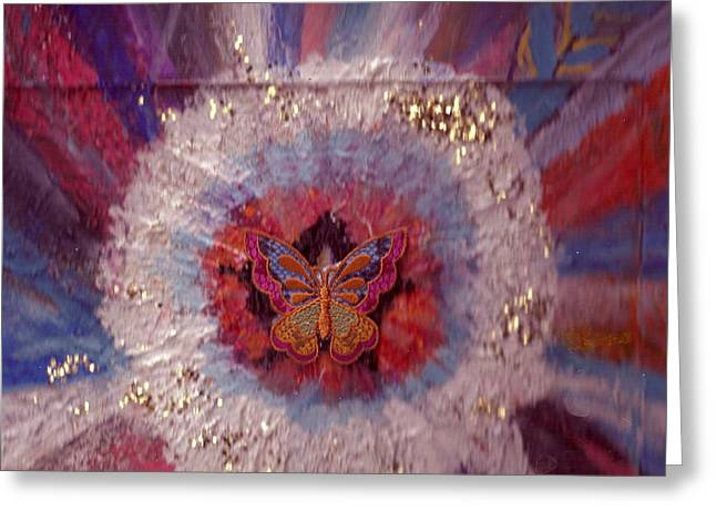 Celebration Of Life With  A Butterfly In The Middle Greeting Card by Anne-Elizabeth Whiteway