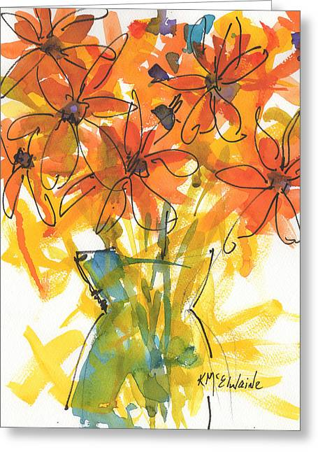 Celebration Of Sunflowers Watercolor Painting By Kmcelwaine Greeting Card