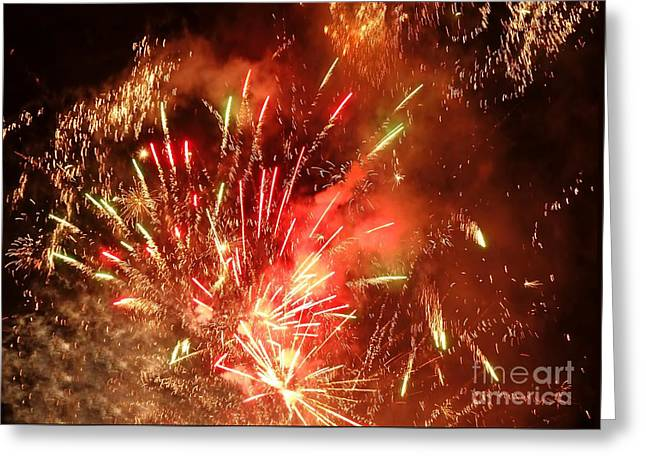 Greeting Card featuring the photograph Celebratory Fireworks And Firecrackers Light Up The Sky by Yali Shi