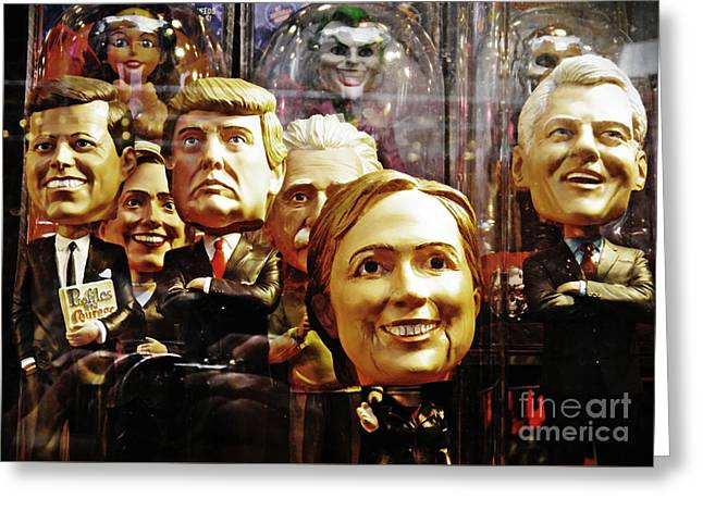Celebrity Bobbleheads 1 Greeting Card by Sarah Loft