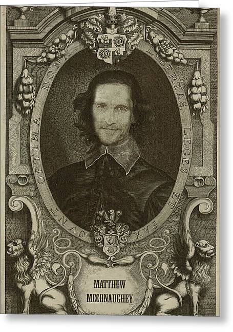 Celebrity Etchings - Matthew Mcconaughey   Greeting Card by Serge Averbukh
