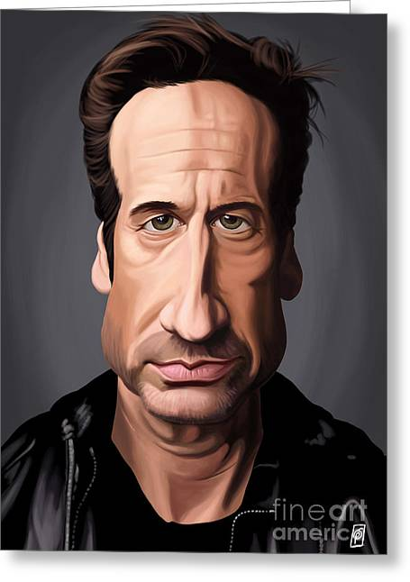 Celebrity Sunday - David Duchovny Greeting Card by Rob Snow
