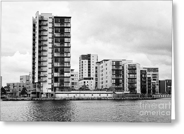 celestia vega and maia houses luxury apartment buildings on roath basin on overcast day Cardiff bay  Greeting Card