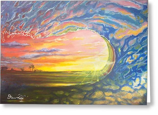 Greeting Card featuring the painting Celestial Break by Dawn Harrell