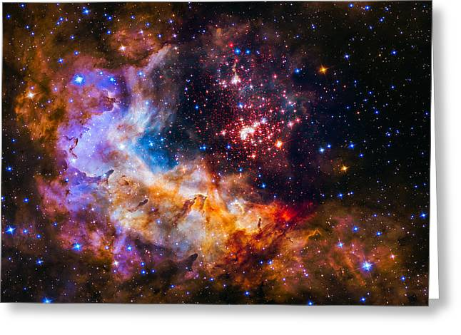 Celestial Fireworks Greeting Card by Marco Oliveira