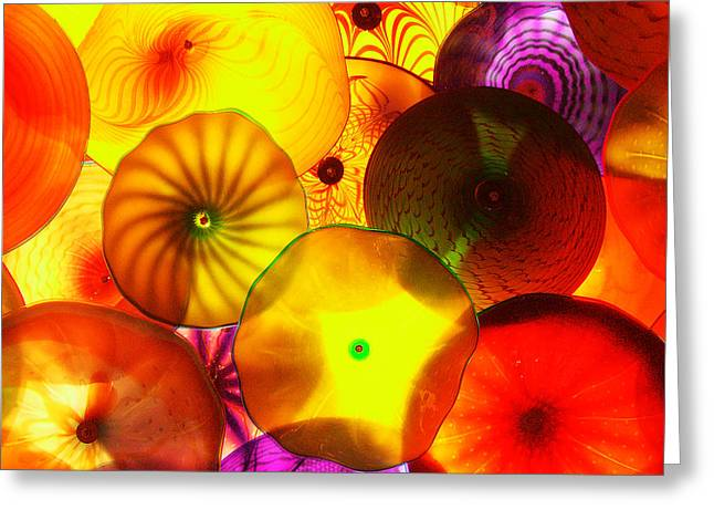 Purple Mushrooms Greeting Cards - Celestial Glass 4 Greeting Card by Xueling Zou