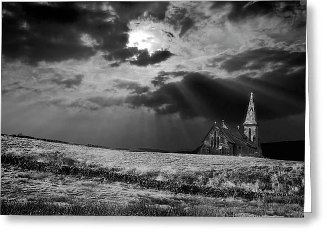 Black Church Greeting Cards - Celestial Lighting Greeting Card by Meirion Matthias