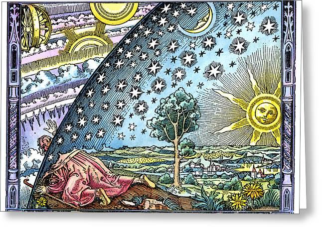 Mediaeval Greeting Cards - Celestial Mechanics, Medieval Artwork Greeting Card by Detlev Van Ravenswaay