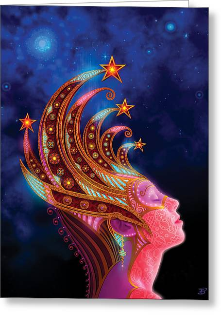 Metaphysical Mixed Media Greeting Cards - Celestial Queen Greeting Card by Philip Straub
