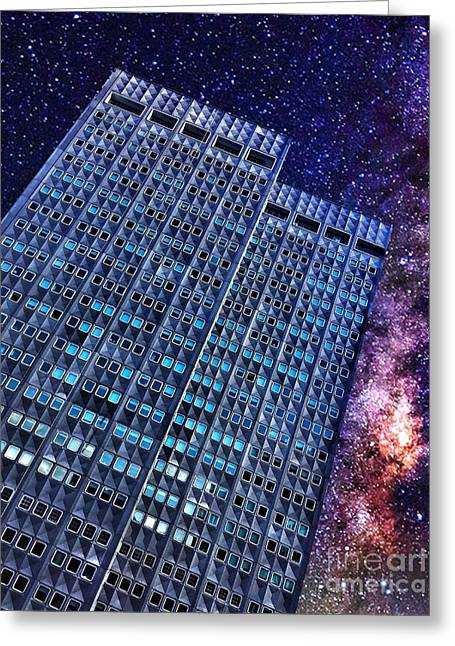 Celestial Skyscraper Greeting Card by Amy Cicconi