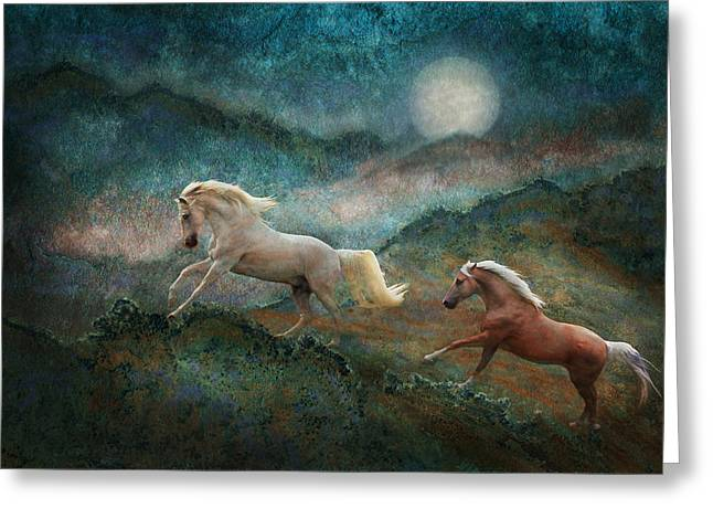 Celestial Stallions Greeting Card
