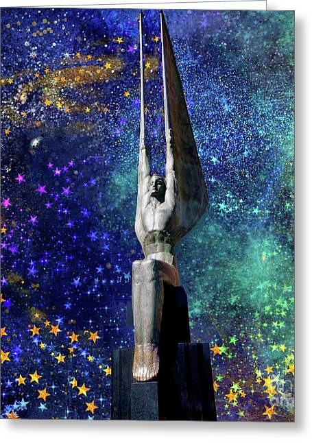 Celestial Winged Figures Of The Republic Greeting Card