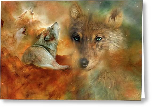 Greeting Card featuring the mixed media Celestial Wolves 3 by Carol Cavalaris