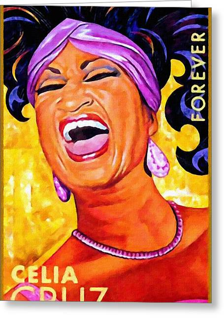 Celia Cruz Greeting Card by Lanjee Chee