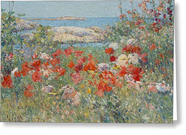 Celia Thaxter's Garden, Isles Of Shoals, Maine Greeting Card by Childe Hassam
