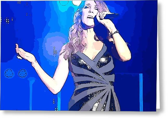 Celine Dion Abstract Greeting Card by John Malone