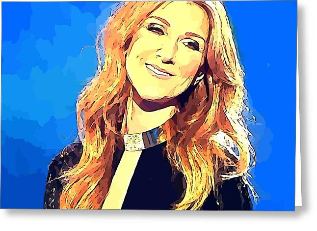Celine Dion Abstract Portrait Greeting Card by John Malone