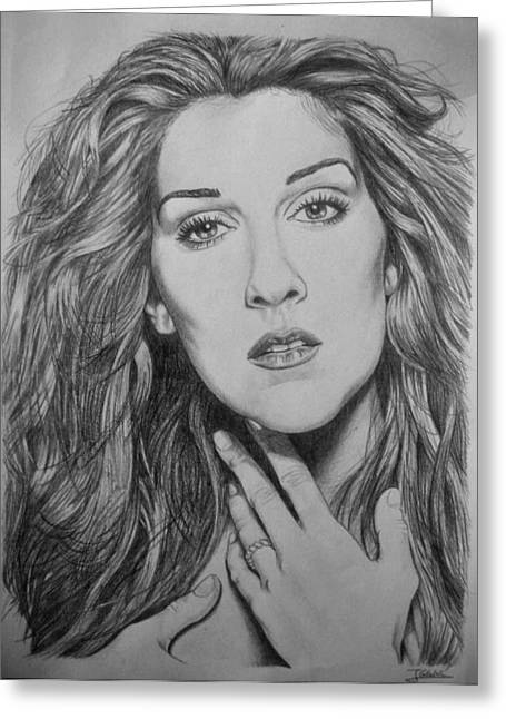 Celine Dion Greeting Card by Jesus Catalan